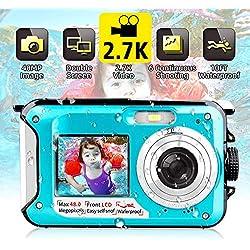 Appareil Photo Etanche sous Marin Caméscope 2.7K FHD 48 MP Améra Vidéo Numérique Camescope Vidéo Selfie Action Caméra 10 FT sous Marine