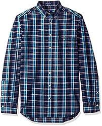 GANT Mens Indigo Check Shirt, Dark Indigo, S
