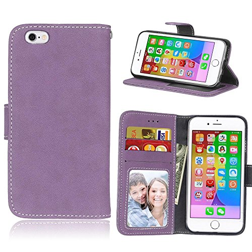 iPhone Case Cover Vollfarbige Premium-PU-Leder-Kasten-Abdeckung bereifte Retro- Schlag-Standplatz-Fall-Mappen-Kasten mit Karten-Schlitz-Foto-Rahmen für Apple IPhone 6 6S IPhone6 ( Color : 5 , Size : A 8