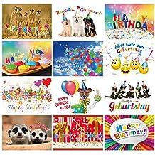 Tarjetas de cumpleaños (Set 2): 24–Juego de tarjetas postales con corazón & Humor–12diseños, cada uno con 2tarjetas de felicitación de Edition Colibri© (10849de 860)