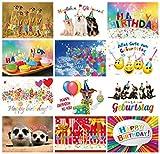 Geburtstagskarten (Set 2): 24-er Postkarten Set mit Herz & Humor - 12 Motive mit je 2 Glückwunschkarten von EDITION COLIBRI © (10849-860)