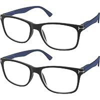 TBOC Lunettes de Vue Lecture Presbyte - [Pack 2 Unités] Dioptrie +1.00 Monture Noire Mat Branches Bleues pour Femme…