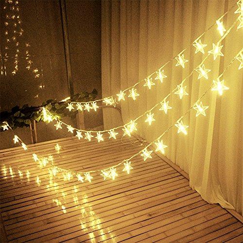 Lichterkette Warmweiß für Zimmer Innen Indoor mit Batterie 30 LED Sterne für Weihnachtsbaum Kinderzimmer Fenster Vorhang