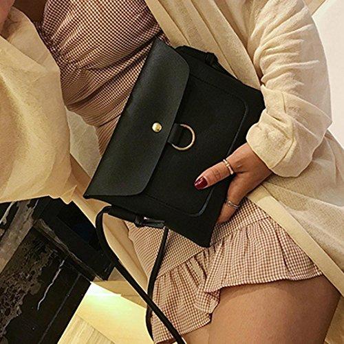 Longra Sacchetto di spalla singolo di modo del cuoio dellunità di elaborazione delle donne 22 * 18cm / 8.7 * 7.1  Nero