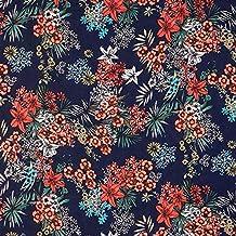 Fabulous Fabrics Tela para Blusas Flores japonesas – Azul — Mercancia al Metro a Partir de