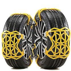 Schneeketten Universal Auto TPU-Material 6 Stück Anti-Rutsch Ketten Fit für Auto/SUV Reifenbreite mit 165mm-285mmm, Anti-Rutsch-Ketten Einfache Montage, Handschuhe und Installationswerkzeuge.