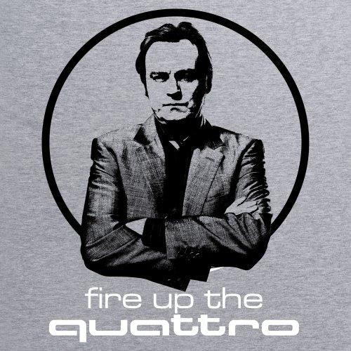 Official Gene Hunt T-Shirt - Quattro, Herren Grau Meliert