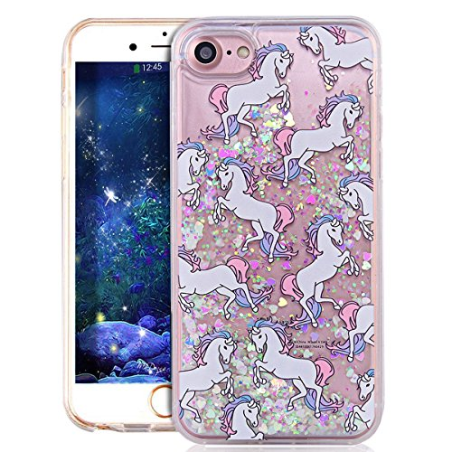 Glitzer Hülle Für iPhone 7,Transparent Hülle Für iPhone 7 Clear Glitzer Liquid Crystal Hard Case,EMAXELERS iPhone 7 Hülle Blumen,iPhone 7 Hülle Flamingo,iPhone 7 Hülle Bling Glitzer Cristal 3D Kreativ Horse 3