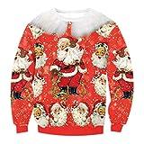 Weihnachts Sweatshirt Damen Rundhalsausschnitt Sweatshirts Bedruckt Weihnachtsmann Weihnachtsmotiv Wintermantel Damenmäntel Top Jumper L