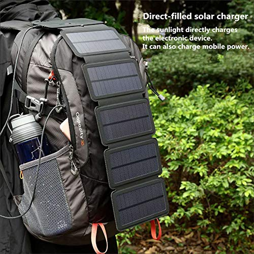 BUOP Solar Ladegerät, 6w/7.5w Tragbar Wasserdichtes Solarpanel mit 1 USB-Ports Kompatibel für Mobiles Kommunikationsgerät faltbares Aktivitäten im Freien Camping Wandern Reise,5solarpanels(7.5W)