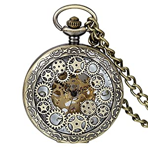 Avaner Antike Taschenuhr Analog Steampunk Uhr mit arabischen Ziffern Kette für Herren Damen Bronze Quarzwerk/Handaufzugwerk Halloween Weihnachten Geschenk