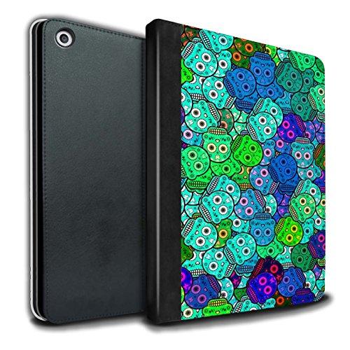 STUFF4 PU-Leder Hülle/Case/Brieftasche für Apple iPad 9.7 (2017) tablet / Türkis Muster / Süßigkeiten Schädel Kollektion (Mexiko-handy-fällen)