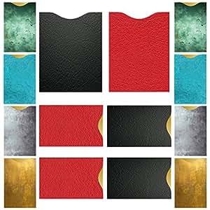 RFID/NFC Schutzhüllen (14 St.) + GRATIS EBOOK, 100% RFID Schutz vor Auslesung von Funk-Chips - 12 Kartenschutzhüllen für Kreditkarte, Personalausweis, EC-Karte + 2 Reisepass RFID Blocker im Leder-Look