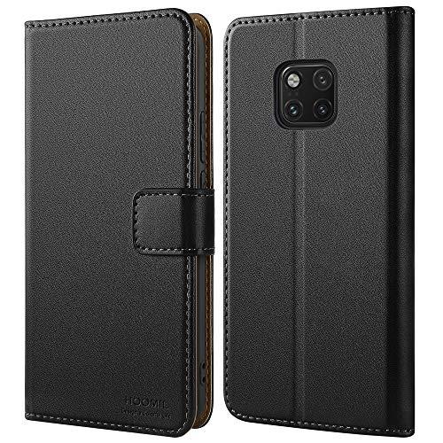 HOOMIL Handyhülle für Huawei Mate 20 Pro Hülle, Premium Leder Flip Schutzhülle für Huawei Mate 20 Pro Tasche, Schwarz
