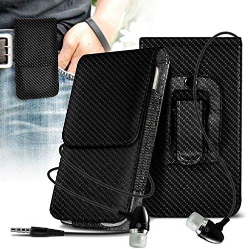 Fone-Case (Carbon) Google Pixel XL Vertikale PU-Ledergürtel -Telefon-Halter Holster Case Cover & Hands Free Farbunterlegte Kopfhörer