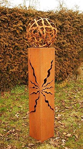 Gartendekoshop24 Fackel 125cm mit Muster Feuerkugel Rostkugel