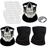 YQXCC 4 Pcs Neck Gaiter Face Cover Scarf with 20 Pcs Safety Carbon Filters - Breathable Gator Mask Bandanas