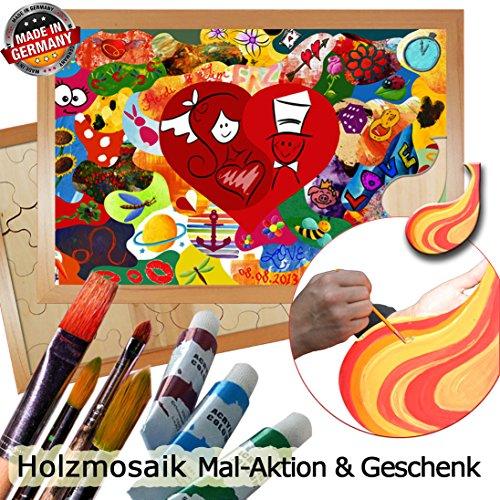 Holzmosaik Hochzeitspuzzle - PORTOFREI inkl. Hochzeitsbuch gratis - kreative Hochzeitsspiele zum Bemalen Set inkl. Farben und Pinsel - Holzpuzzle zur Hochzeit mit Herz in der Mitte 80x55 Rahmen Buche dunkel -