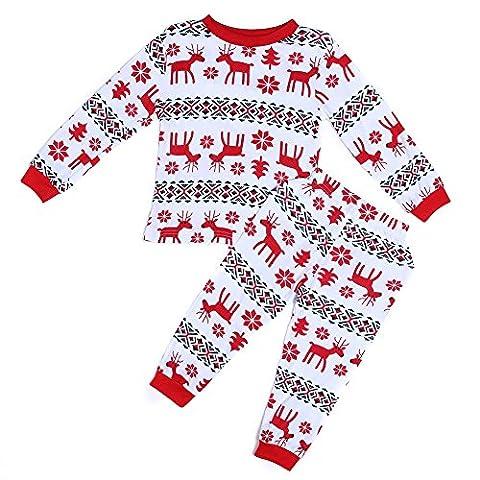 La Cabina Ensemble de Bébé Enfant Mère Père Pyjamas Confortable Noël Style Sweat-shirt à Manches Longues Top + Pantalon Casual Impression Mignon pour Automne Hiver (5 ans, Enfant)