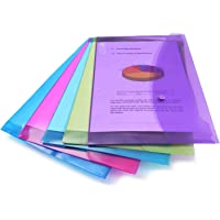 Rapesco 0688 Bright Transparent Popper Wallet, Foolscap, Assorted Colours
