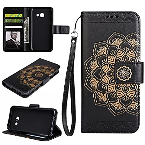 Samsung Galaxy A3 2017 Case, Samsung Galaxy A3 2017 Phone Case, Samsung Galaxy A3 2017 Flip Wallet Case,Cozy Hut Premium Datura flowers Pattern PU Leather Wallet Case Cover Pouch [Magnetic Closure] with Card Slots ,Kickstand,Credit Card Holder,Book Style Flip Wallet for For Samsung Galaxy A3 (2017) SM- A320F 4.7 inch - Black mandala