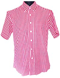 Red & White Gingham Check Shirt - Vintage Style Button Down