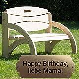 Geschenke 24 Gravierte Geburtstagsbank mit Lehne - personalisierte Gartenbank für Männer und Frauen - ein schönes Geschenk zum Geburtstag (Natur)
