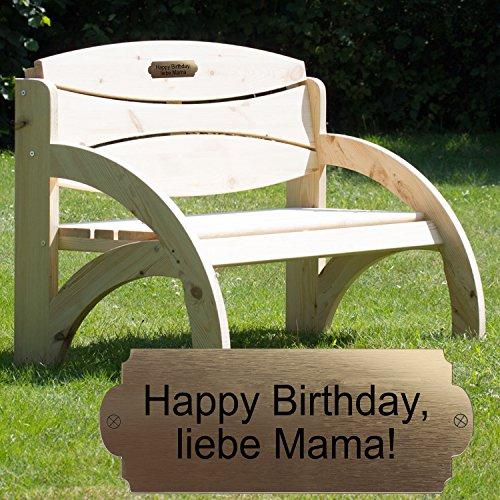 Geschenke 24 Gravierte Geburtstagsbank mit Lehne Natur - Gartenbank für Männer und Frauen mit Wunschtext personalisiert – persönliches Geburtstagsgeschenk