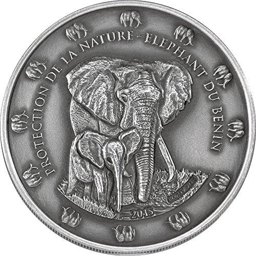 THE BENIN ELEPHANT Antique Finish Protection De La Nature 2 Oz Silver Coin 1500 Francs Benin 2015