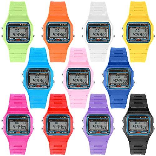 Taffstyle Damen Herren Sportuhr Silikon Armbanduhr 80er Jahre mit Alarm Datum Kalender Viereckig Vintage Retro Digital Uhr