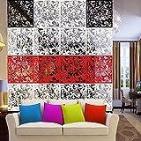 4x Pantalla Colgando Tabique Separador de Ambientes Cortina Divisores Muebles Salón Flor Mariposa - Rojo