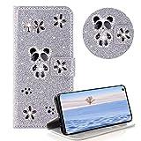 Glitzer Strass Brieftasche für Galaxy S10E,Silber Leder Handyhülle für Galaxy S10E,Moiky Luxus 3D Magnetisch Kristall Niedlich Panda Blumen Diamant Hülle mit Kartenfächer Ständer