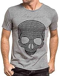BLZ jeans - Tshirt homme gris imprimé feutrine tête de mort