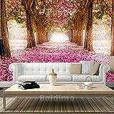murando® FOTOTAPETE VLIES PREMIUM: 50x35 cm (BxH) | PROFI QUALITÄT | 3 Farben zur Auswahl | Top Design Tapete | Phototapete | Wandbilder XXL | Riesen Wandbild | Bild | Fototapeten | Tapeten | Wandtapete | Wand Dekoration | Weg Blumen Bäume Park Allee rosa braun c-A-0031-a-b