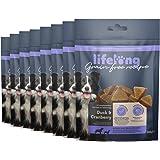Marchio Amazon - Lifelong - Snack per cani, senza grano, con mono - proteina, con anatra e mirtilli rossi (8 confezioni da 24