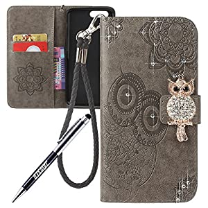 iPhone 7 Plus Cover Custodia, iPhone 7 Plus Custodia Pelle, JAWSEU iPhone 7 Plus Protezione Creativo Diamante Gufo Libro Disegno Wallet Pouch Leather Flip Case Cover Custodia per iPhone 7 Plus Cover Copertura con Super Sottile Silicone Case e Porta carte di credito e Supporto di Stand Chiusura Magnetica [Shock-Absorption] Protettiva Bumper Pelle Portafoglio Custodia per Apple iPhone 7 Plus