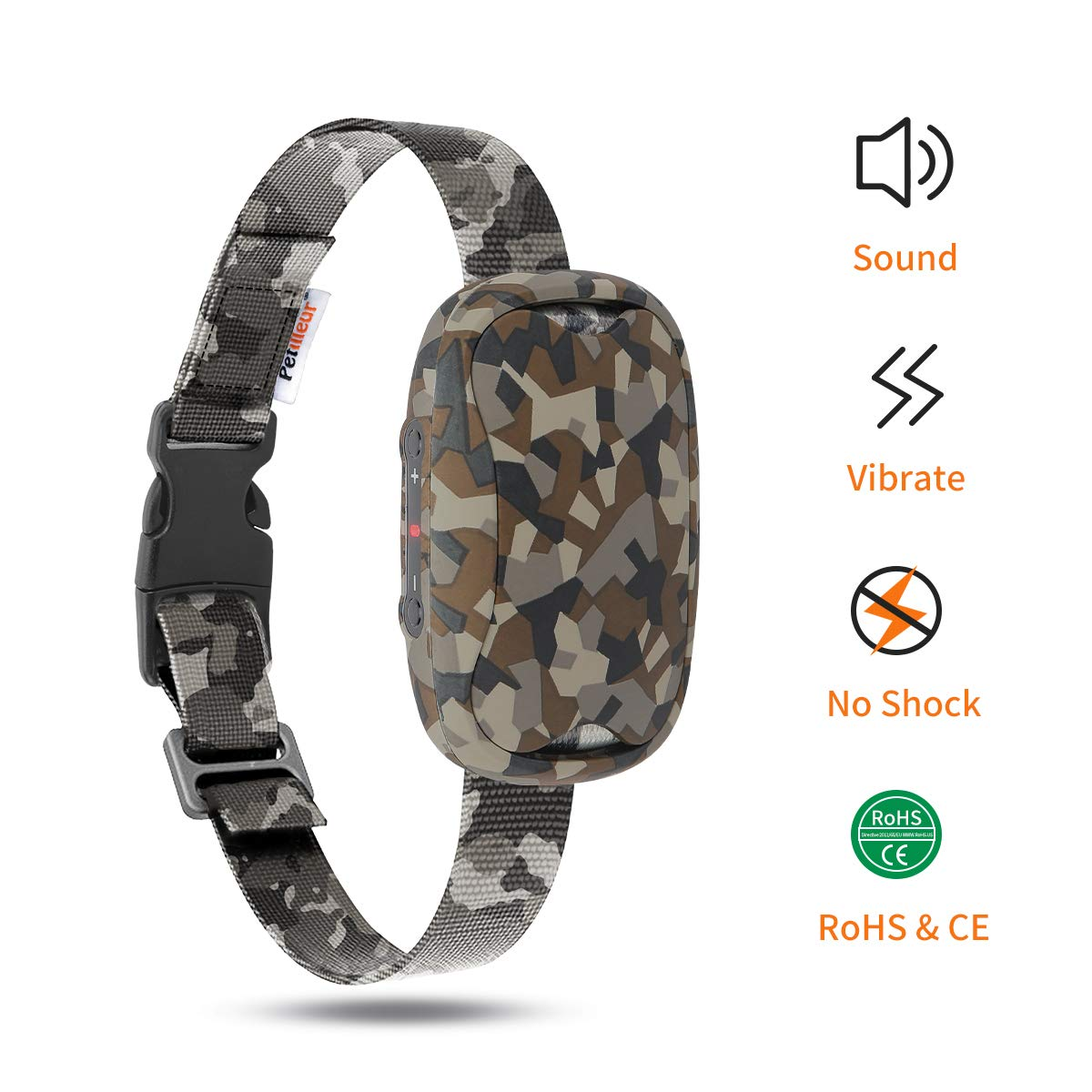 Petilleur Automatic Bark Collar [Intelligent Dog Anti-Bark Collar] Dogs Bark Control Training Collar for Small & Medium dogs, Humane Barking Stopper with Sound and Vibration (Trendy Camouflage Color)