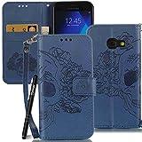 Slynmax Handytasche Schutzhülle für Samsung Galaxy A3 (2017) 4,7 Zoll Hülle Tasche Flip Case Wallet Hand Strap Brieftasche Lederhülle Lanyard Handyhülle Stand Karte Magnetverschluss(Blau)