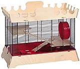 Skyline 001781 Hamsterheim Palazzo mit Dachterasse, 73 x 38 x 56 cm, schwarz/rot