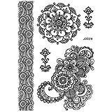 Pinzhi1 Blatt Schwarzer Blumen-abnehmbarer Spitze-Körper-Kunst-Tätowierung-Aufkleber für Kinder Männer Frauen-erwachsene Mädchen (Color6)
