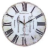 Heim Dekor Antik-Stil Shabby Chic MDF Quartz Wanduhr mit Besteck Szene, mit Römischen Ziffern und Dekorativen Minuten- und Stundenzeigern.