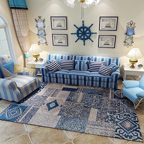 maxyoyo azul Mediterráneo estilo alfombra para salón, lavable Irregular patrón gran área alfombra, poliéster y mezcla de poliéster, azul, 47 by 67 inch