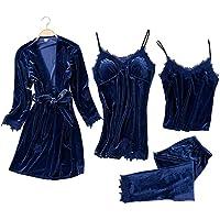 JULY'S SONG Donna Indumenti Camicie da Notte 4 Pezzi in Raso Elegante Sexy Estivo Pigiama Sleepwear Indumenti da Notte…