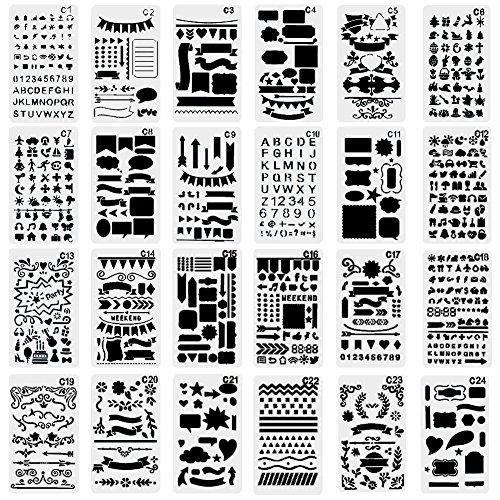 nouvelife-lot-de-24-pochoir-formes-geometriques-pochoir-chiffre-et-letter-feuille-darbre-fleur-10-x-