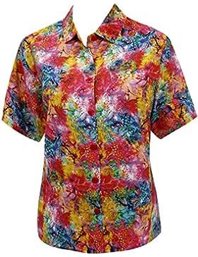 mangas vestido de las mujeres ropa de playa botón hawaiano camisa de la blusa abajo encubrimiento cortos múltiples