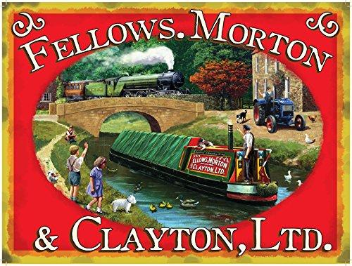 Fellows, Morton & Clayton Ltd.Fahrgastschiff mit grünem Dampflokomotive und Traktor Frühe 20. Jahrhundert für Haus, Schuppen, Garage oder kneipe. Metall/Stahl Wandschild - 20 x 30 cm Jahrhunderts Traktoren