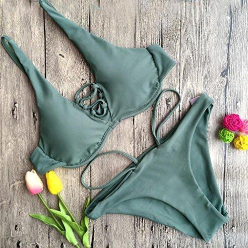 Bikini Donna SamMoSon Costume da bagno sexy stampato push-up Imbotti Stampato benda Bra Beach costumi da bagno Army verde