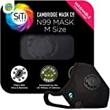 Dettol Cambridge N99 Mask for Protection from Virus, Bacteria, Pollution – Reusable, Washable, with Breathing Valve (Black, Medium)