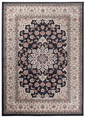 """Traditioneller Klassischer Teppich für Ihre Wohnzimmer - Anthrazit Schwarz Creme - Perser Orientalisches Heriz Keshan Muster - Blumen Ornamente - Top Qualität Pflegeleicht \"""" AYLA \"""" 200 x 300 cm Groß"""