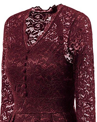 NALATI Spitzenkleid Langarm Herbstkleider V-Ausschnitt Festlich Partykleid Cocktailkleid Vintage 50er Hochzeit Abendkleid Knielang Langarm Weinrot